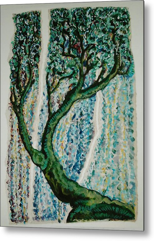 Tree Metal Print featuring the painting The Tree Energy by Helene Champaloux-Saraswati