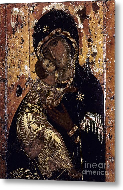 12th Century Metal Print featuring the photograph The Virgin Of Vladimir by Granger
