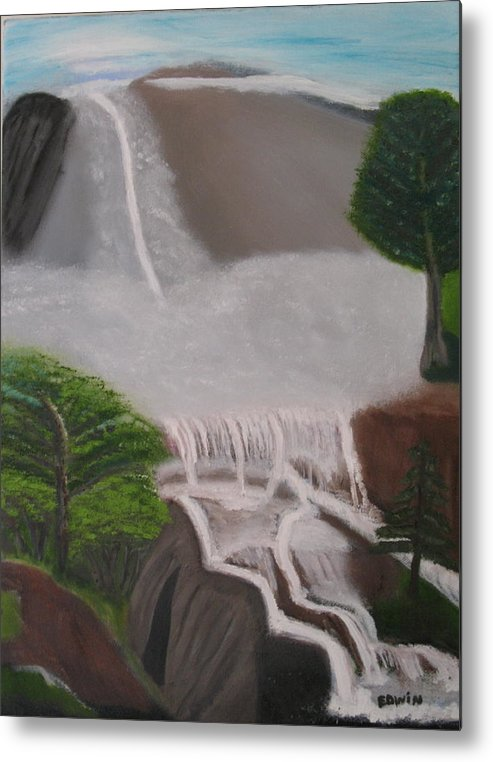 Water Metal Print featuring the painting The Waterfall by Edwin Long