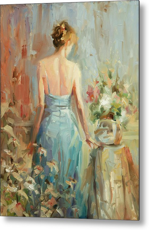 Woman Metal Print featuring the painting Thoughtful by Steve Henderson