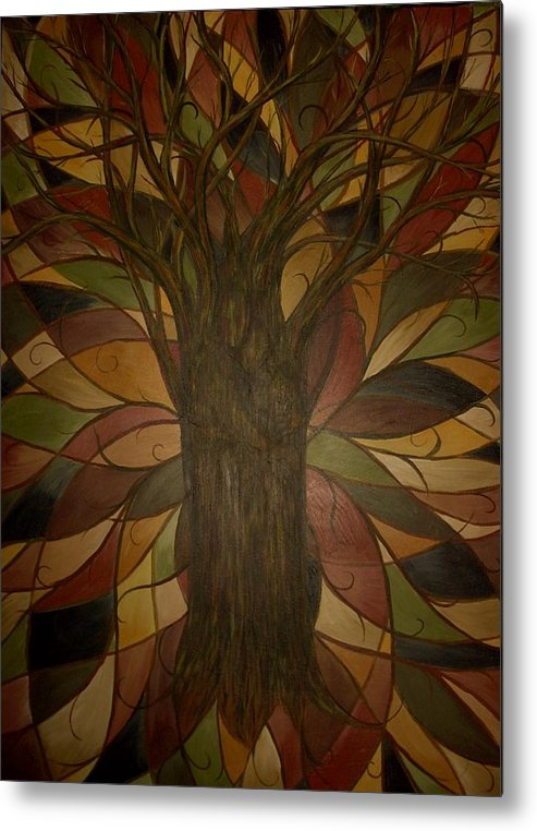Tree Hidden Figures Love Embrace Anniversary Wedding Abstract Landscape Metal Print featuring the painting Tree Huggers by Sally Van Driest