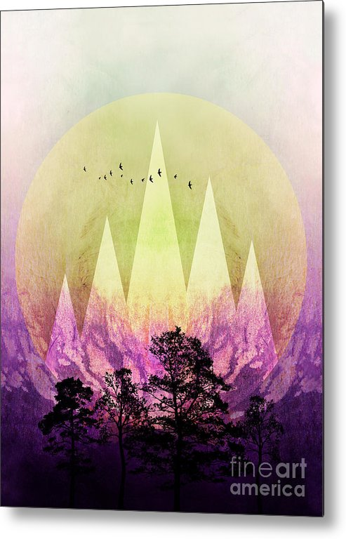 Art Metal Print featuring the digital art Trees Under Magic Mountains IIi by PIA Schneider