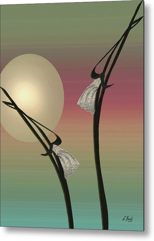 Contemporary Asian Japanese Oriental Abstract Design Moon Peaceful Graceful Scottsdale Metal Print featuring the painting Tropic Mood by Gordon Beck
