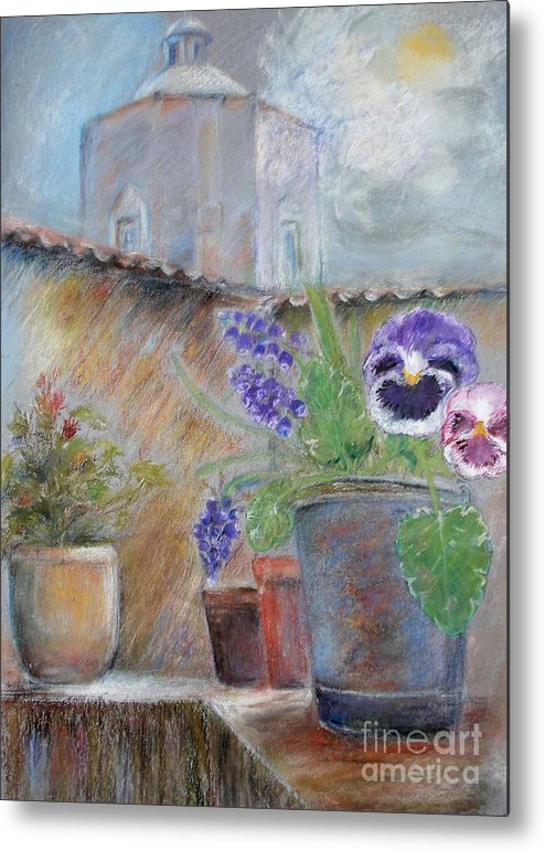 Pastels Metal Print featuring the painting Tuscan Courtyard by Sibby S