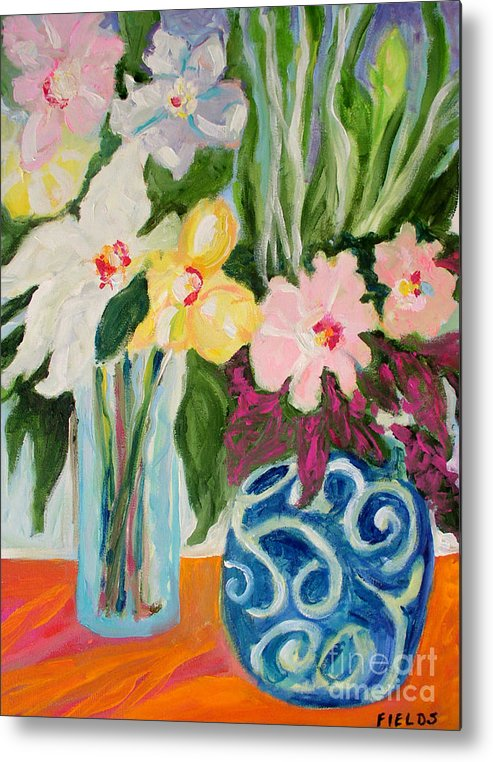 Metal Print featuring the painting Two Blue Vases by Karen Fields