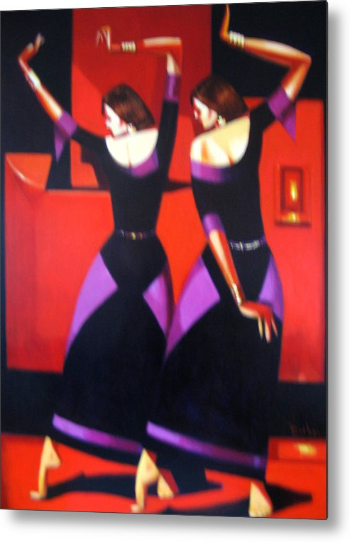 Figure Metal Print featuring the painting Two Dancers With Candlelight by Ihab Bishai