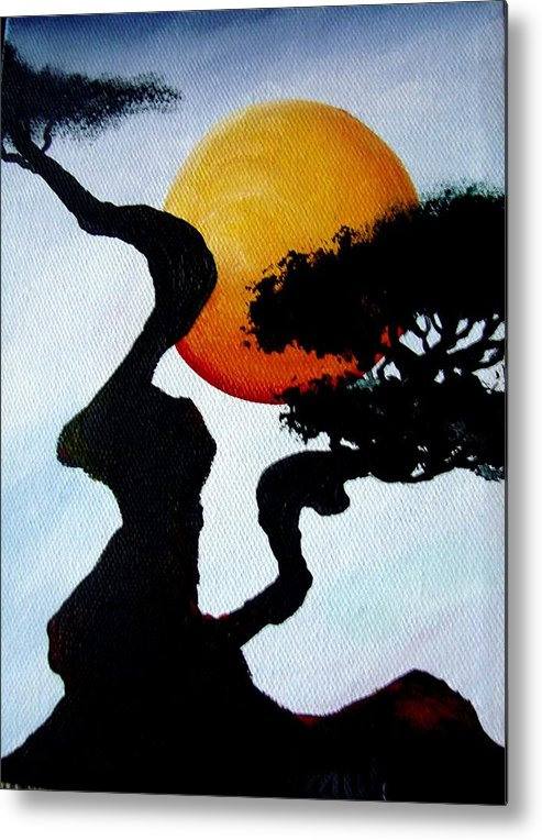 Landscape Metal Print featuring the painting Under The Moon by Glory Fraulein Wolfe