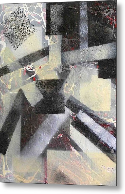 Abstract Metal Print featuring the painting undercover N1 by Evguenia Men