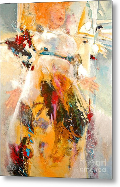 Figure Metal Print featuring the painting Unseeing Singer by Dale Witherow