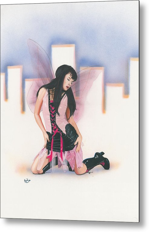Fantasy Metal Print featuring the painting Urban Pixie by Kevin Clark