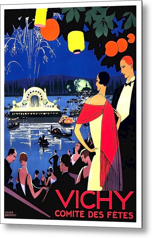 Vichy Metal Print featuring the painting Vichy, Firework At Celebration Night by Long Shot