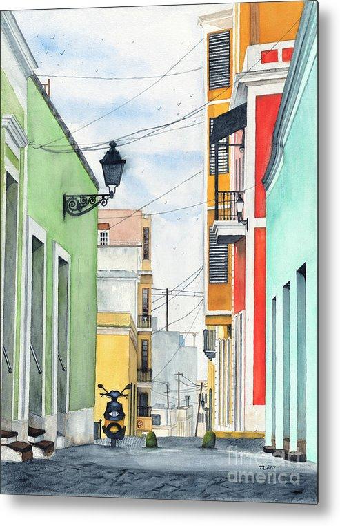 San Juan Metal Print featuring the painting Viejo San Juan by Tom Dorsz
