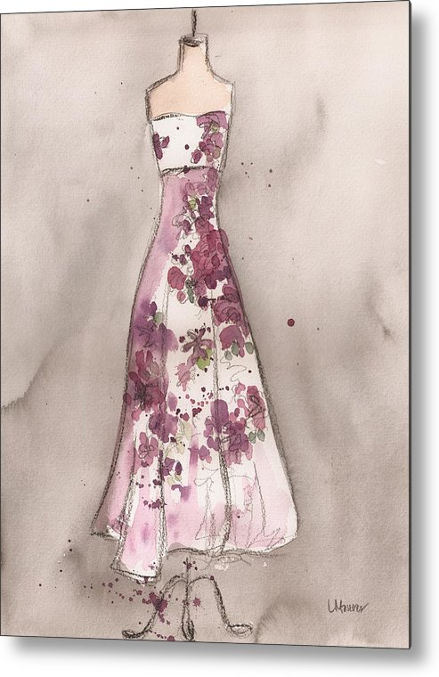 Vintage Dress Metal Print featuring the painting Vintage Romance Dress by Lauren Maurer