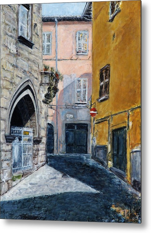 Italy Town Ochre Wall Church Shadow Balcony Pink Indigo Metal Print featuring the painting Viterbo Church by Joan De Bot