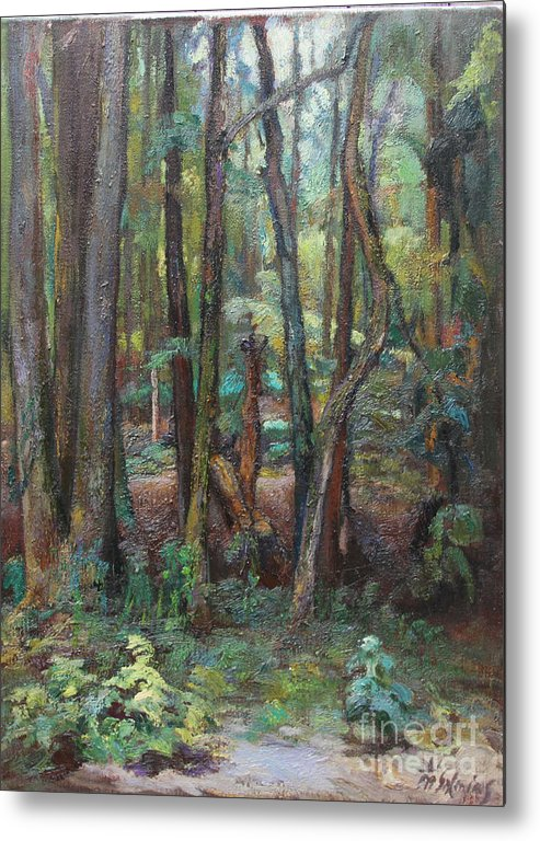 Trees Metal Print featuring the painting Wall Of Trees by Maris Salmins