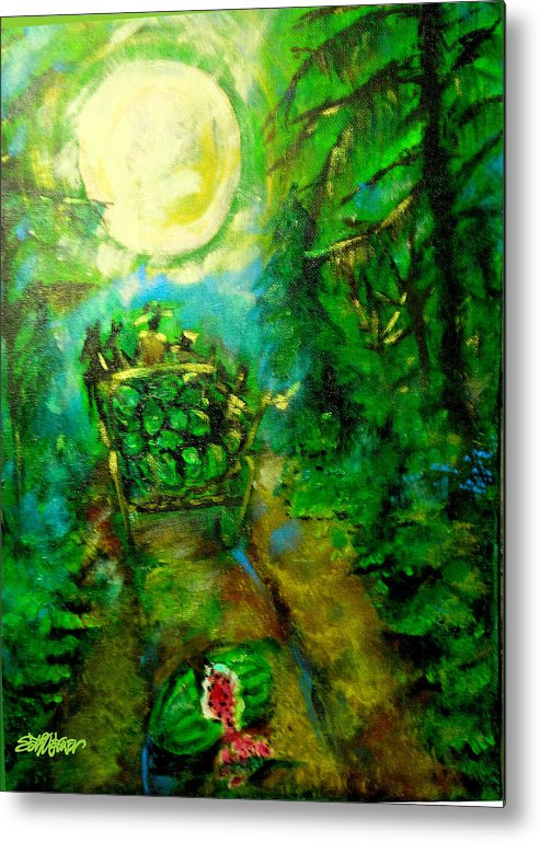 Watermelon Wagon Moon Metal Print featuring the painting Watermelon Wagon Moon by Seth Weaver