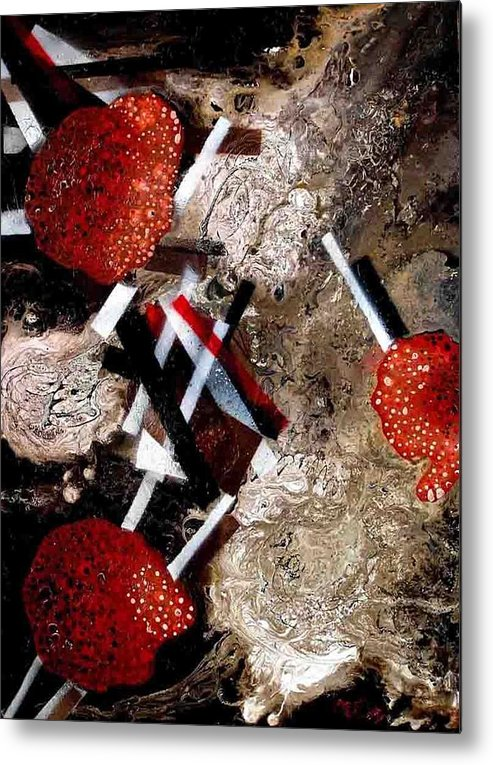 Metal Print featuring the painting Weird Fruits by Evguenia Men