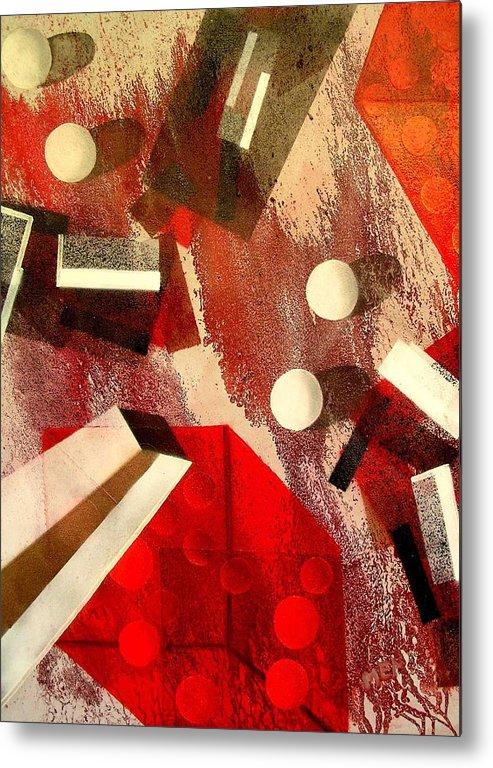 Metal Print featuring the painting White Runaway Dots by Evguenia Men