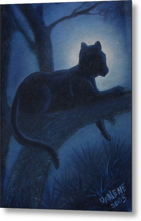 Cougar Metal Print featuring the painting Whos Watching Who Cougar by Darlene Green