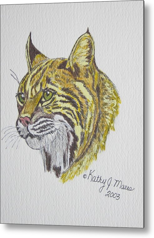 Wild Bobcat Metal Print featuring the painting Wild Bobcat by Kathy Marrs Chandler