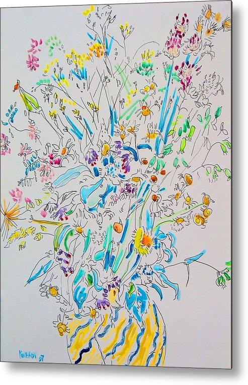 Wild Metal Print featuring the painting Wild Flowers by Vitali Komarov