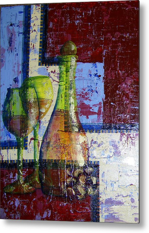 Acrylic Metal Print featuring the painting Wine For Two by Terry Honstead