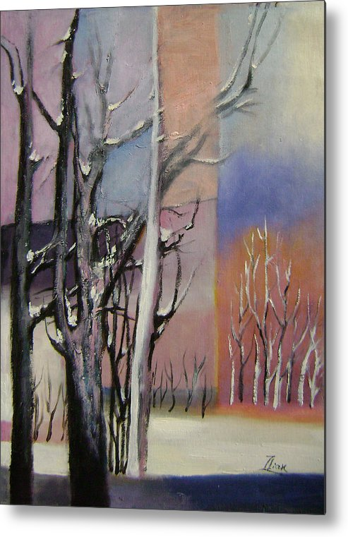 Abstract Metal Print featuring the painting Winter by Lian Zhen