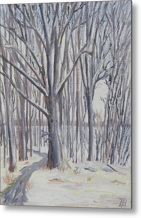 Winter Metal Print featuring the painting Winter Walk by Robert P Hedden