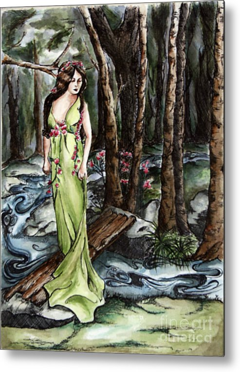 Art Nouveeau Metal Print featuring the painting Wood Nymph by Robin DeLisle