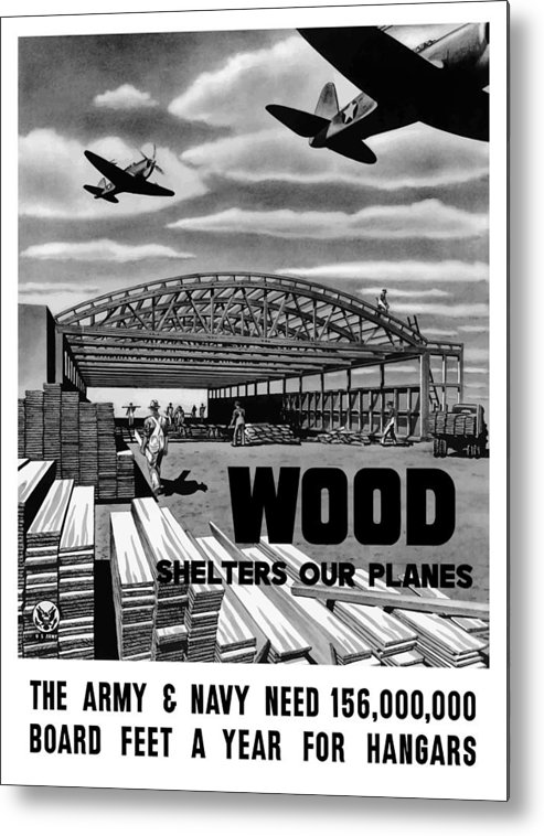 Wwii Metal Print featuring the painting Wood Shelters Our Planes - Ww2 by War Is Hell Store