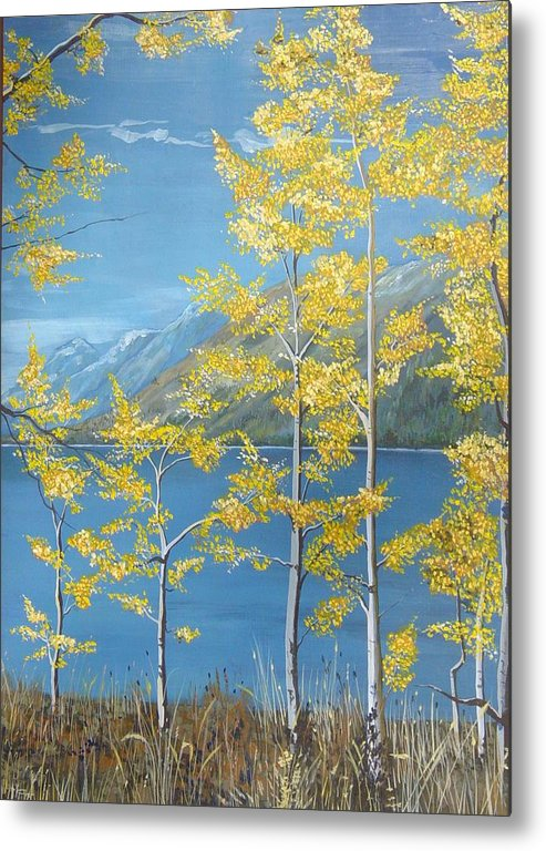 Landscape Metal Print featuring the painting Yellow Dreams by Kris Dixon