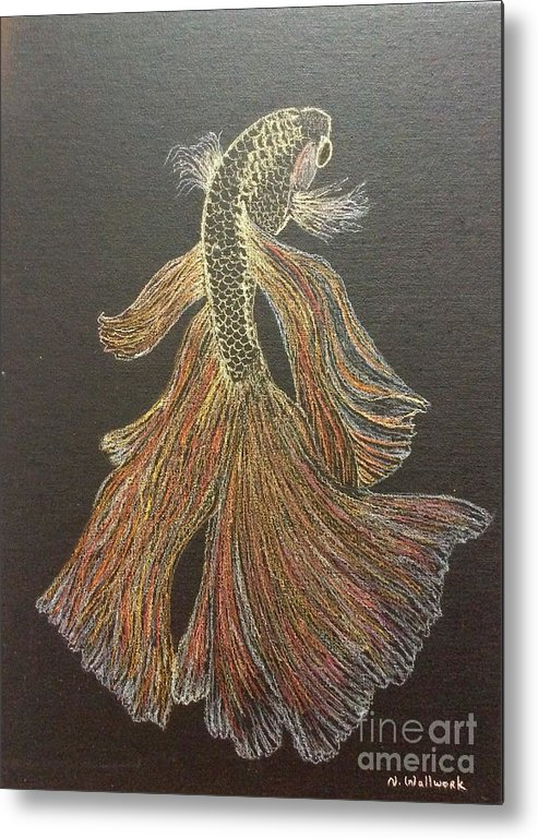 Fish Metal Print featuring the pastel Yellow Fish by Natalia Wallwork
