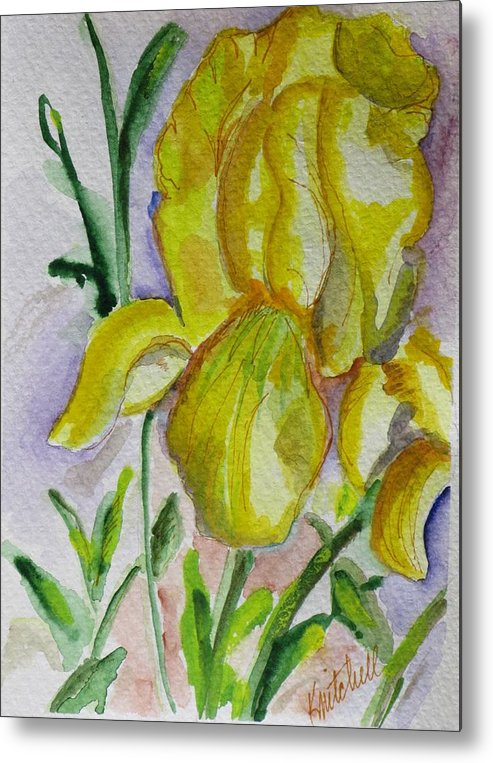 Floral Metal Print featuring the painting Yellow Iris by Kathy Mitchell