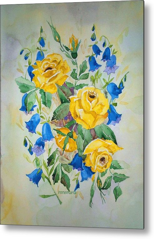Roses Flowers Metal Print featuring the painting Yellow Roses And Blue Bells by Irenemaria