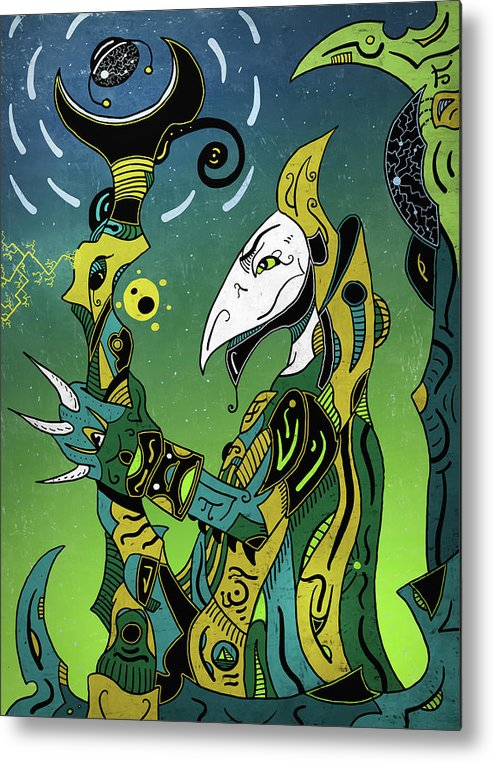 Shaman Metal Print featuring the digital art Birdman by Sotuland Art