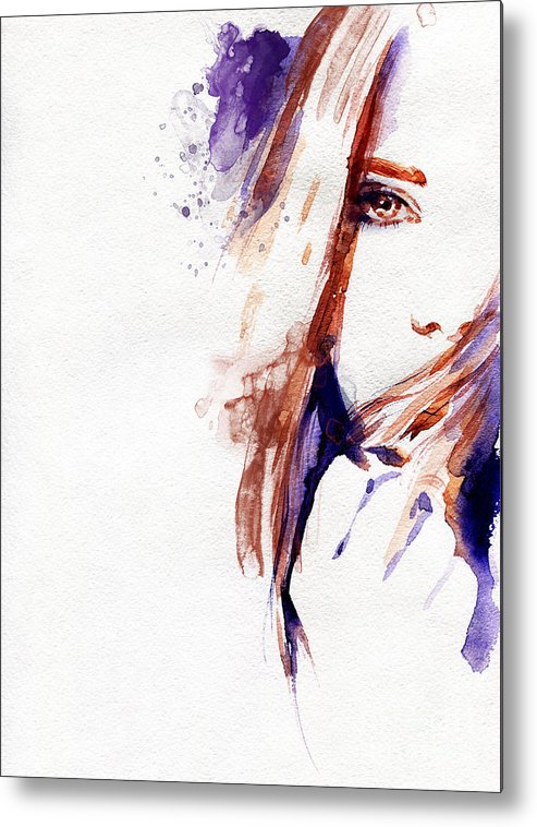 Woman Metal Print featuring the digital art Woman Face. Hand Painted Fashion by Anna Ismagilova