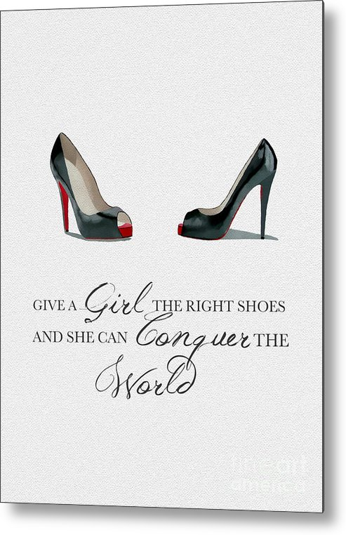 Christian Louboutin Metal Print featuring the mixed media Conquer The World by My Inspiration