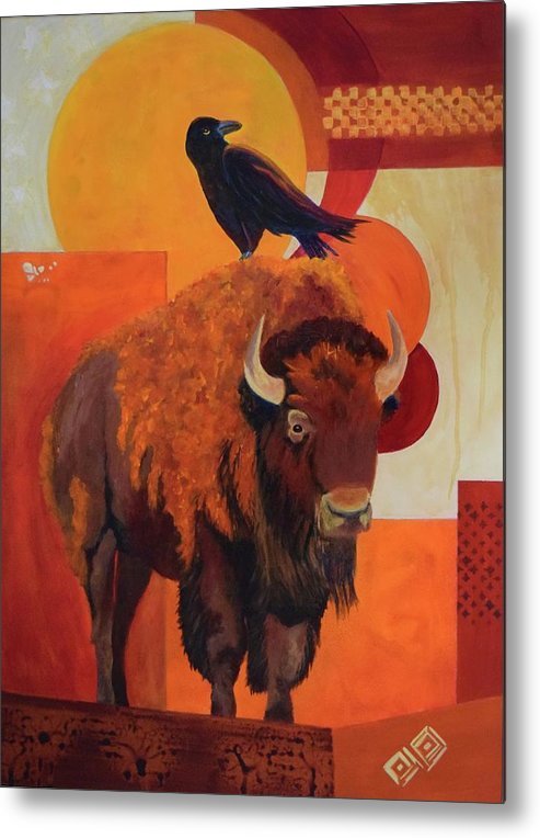 Buffalo Metal Print featuring the painting Fur And Feathers by Nancy Jolley