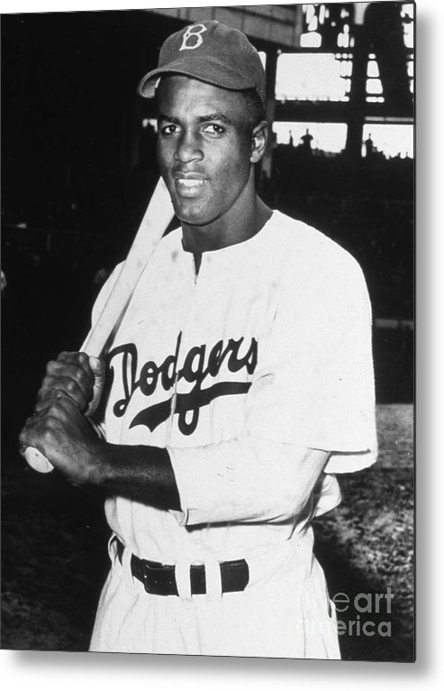 People Metal Print featuring the photograph Jackie Robinson Rookie Dodgers Portrait by Transcendental Graphics
