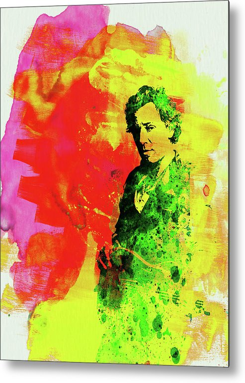Bruce Springsteen Metal Print featuring the mixed media Legendary Bruce Watercolor by Naxart Studio