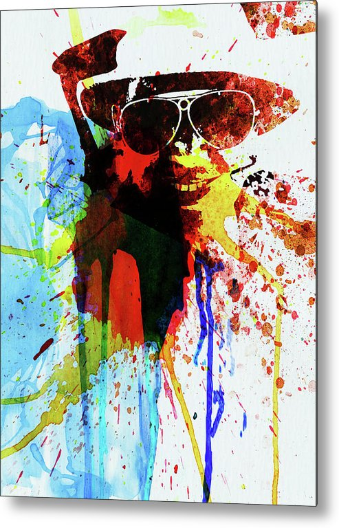 Johnny Depp Metal Print featuring the photograph Legendary Fear And Loathing Watercolor by Naxart Studio