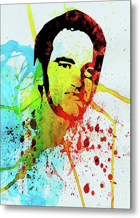 Quentin Tarantino Metal Print featuring the mixed media Legendary Quentin Watercolor I by Naxart Studio