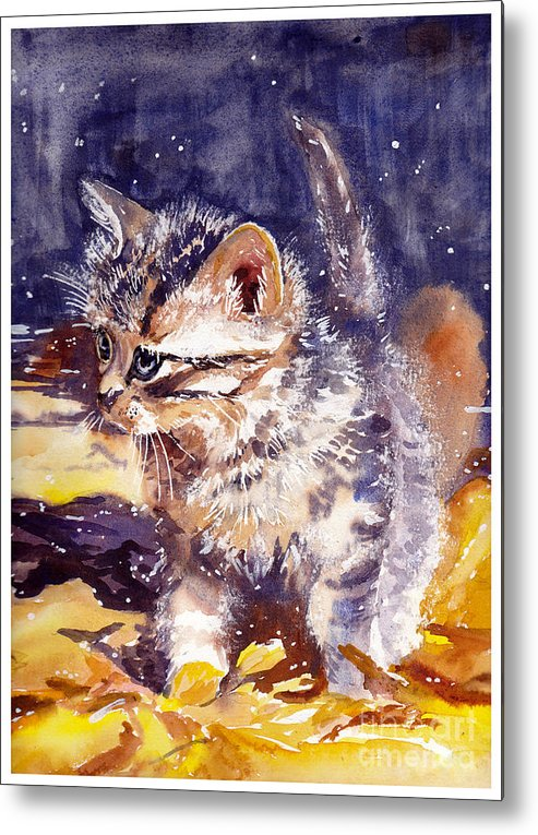 Little Metal Print featuring the painting Pussy On A Yellow Blanket by Suzann Sines
