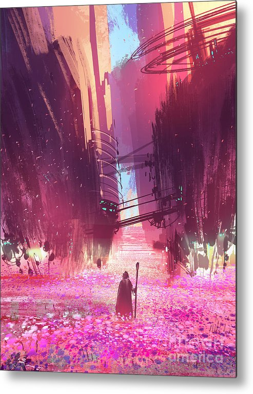 Fi Metal Print featuring the digital art Traveler Standing In Pink Flowers by Tithi Luadthong