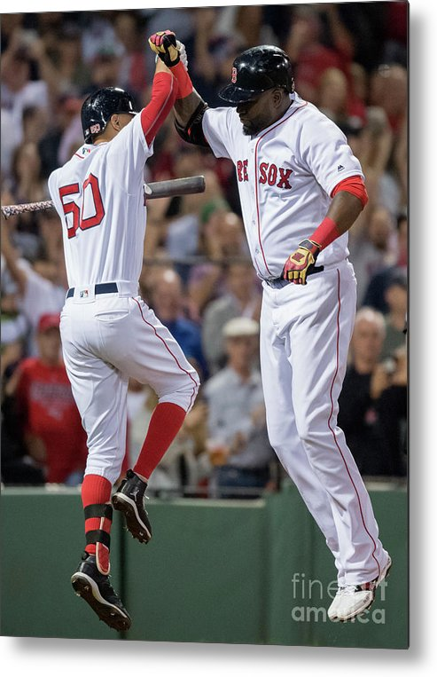 People Metal Print featuring the photograph David Ortiz And Mookie Betts by Michael Ivins/boston Red Sox