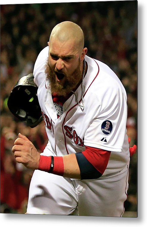 Playoffs Metal Print featuring the photograph Jonny Gomes And Shane Victorino by Jamie Squire