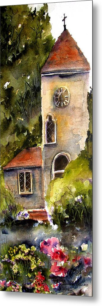 Clock Tower Metal Print featuring the painting Clock Tower England by Marti Green