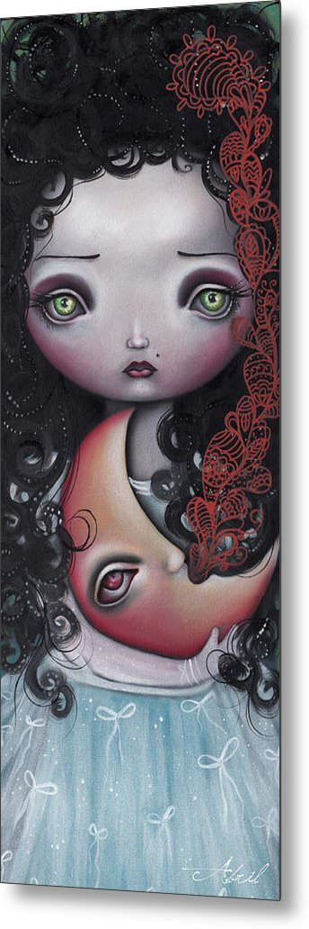 Fantasy Metal Print featuring the painting Moon Keeper by Abril Andrade Griffith