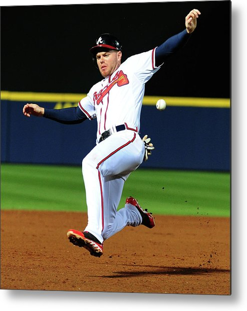 Atlanta Metal Print featuring the photograph St. Louis Cardinals V Atlanta Braves 1 by Scott Cunningham