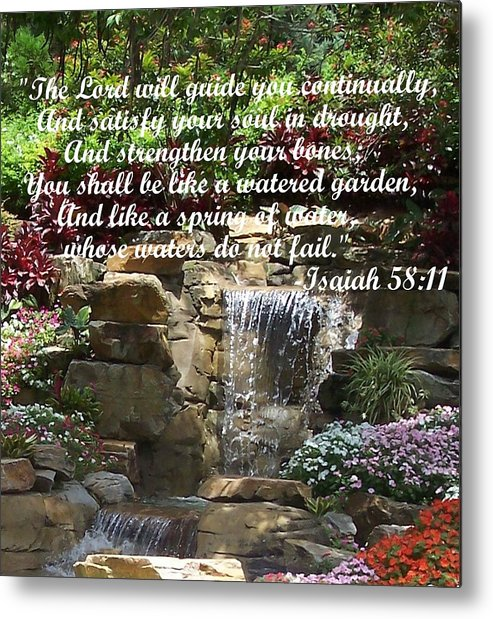 Inspirational Metal Print featuring the photograph Watered Garden by Pharris Art